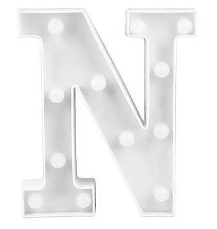 Luminária Letra N Branca Decorativa Em Led