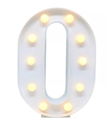 Luminária Letra O Branca Decorativa Em Led