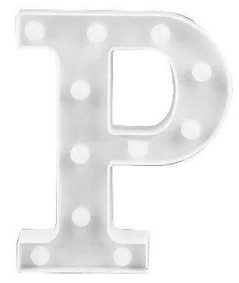 Luminária Letra P Branca Decorativa Em Led