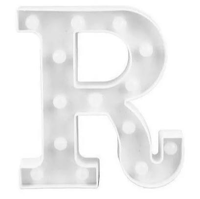 Luminária Letra R Branca Decorativa Em Led