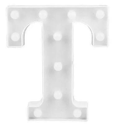 Luminária Letra T Branca Decorativa Em Led
