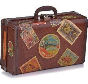 Maletas Vintage Retro Rústica de Fibra de Casca de Coco Prensado com Rótulos e Selos I