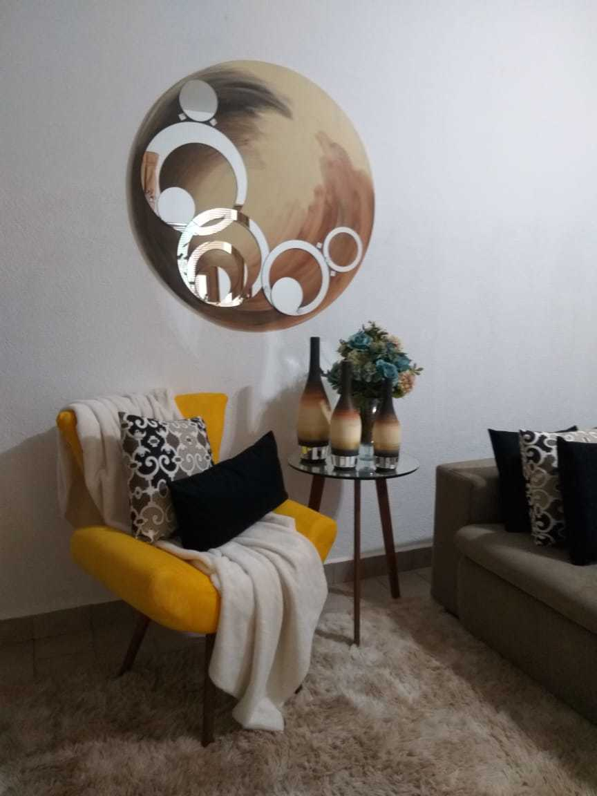 Quadro Mandala Decorativa de Parede Modelo Circular Cor Off White e Marrom, Disponível nos Tamanhos 1 Metro, 80 cm e 60 cm de Diâmetro
