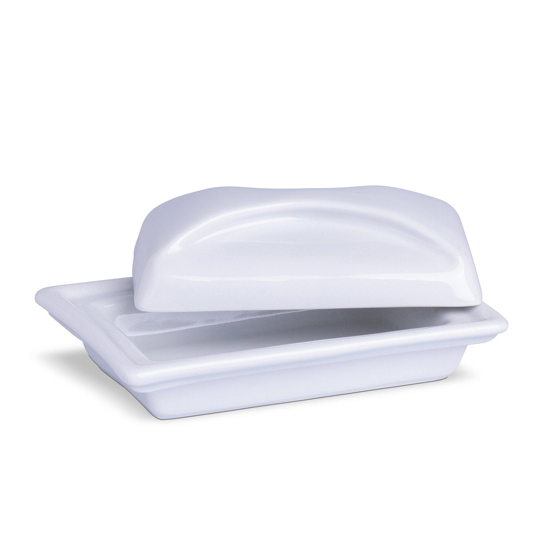 Manteigueira Retangular Branca Porcelana 7 x 13 x 17 cm