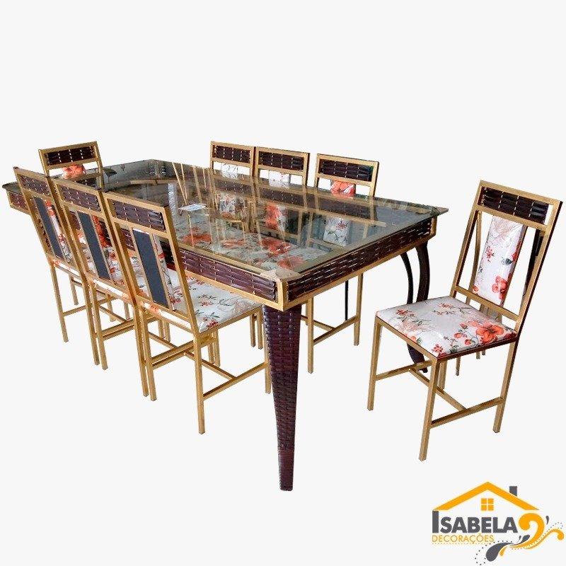 Conjunto de Jantar com Mesa e 8 Cadeiras em Ferro e Fibra Sintética com Tampo em Vidro