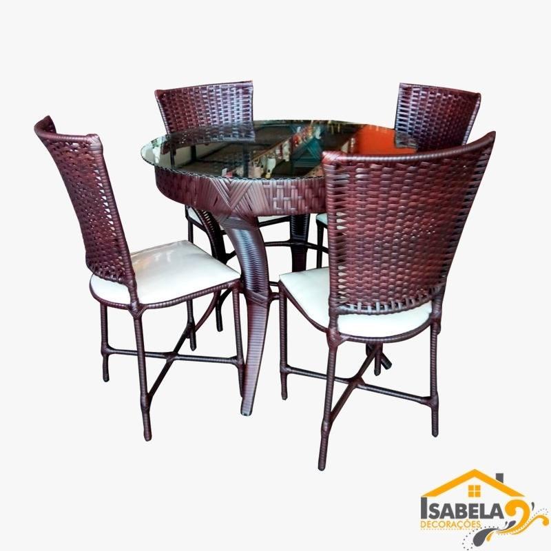 Conjunto Mesa de Jantar com 4 Cadeiras em Fibra Sintética com Tampo em Vidro