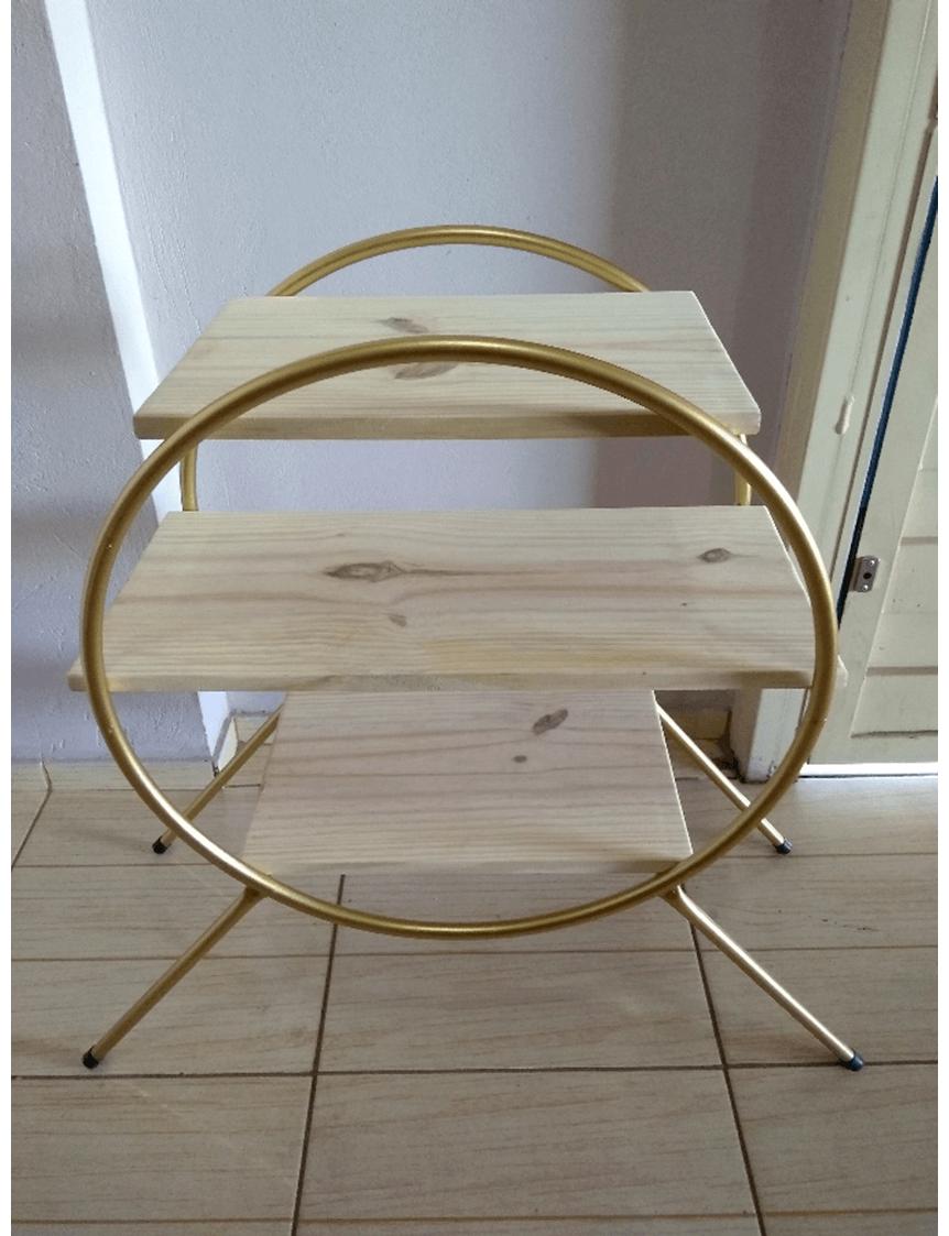 Mini Estante Table Tudo em Ferro com Tampo em Pinus Cru Ideal para Festas