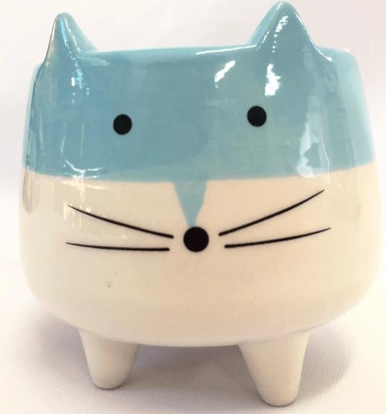 Mini Vaso Gatinho Para Suculentas E Plantinhas Azul