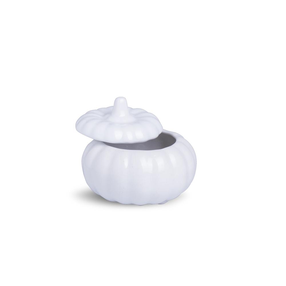 Moranguinha Com Tampa Branca Porcelana 9 x 9 x 8 cm