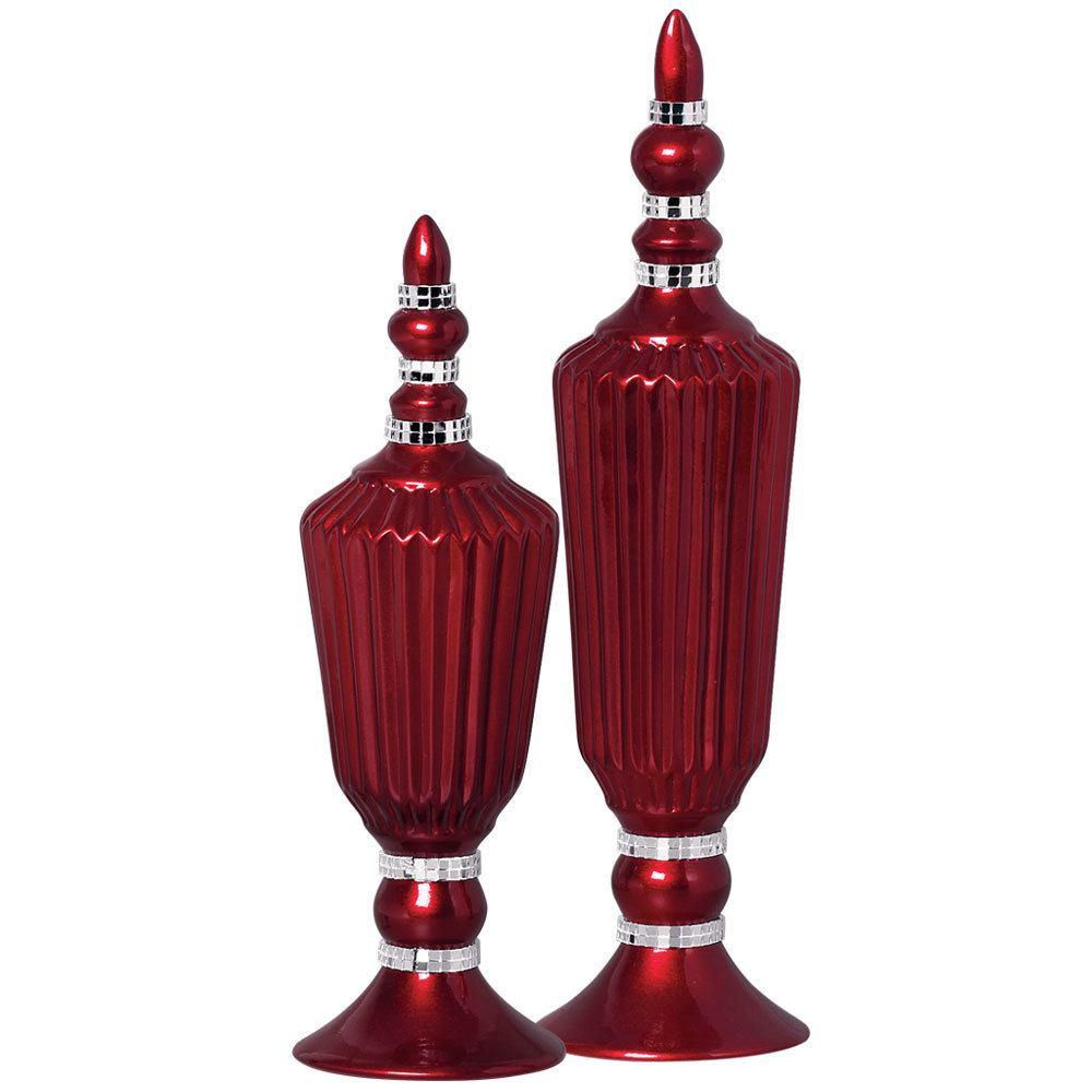 Par de Vasos Cor Vinho C/ Strass P/ Decoração Casa