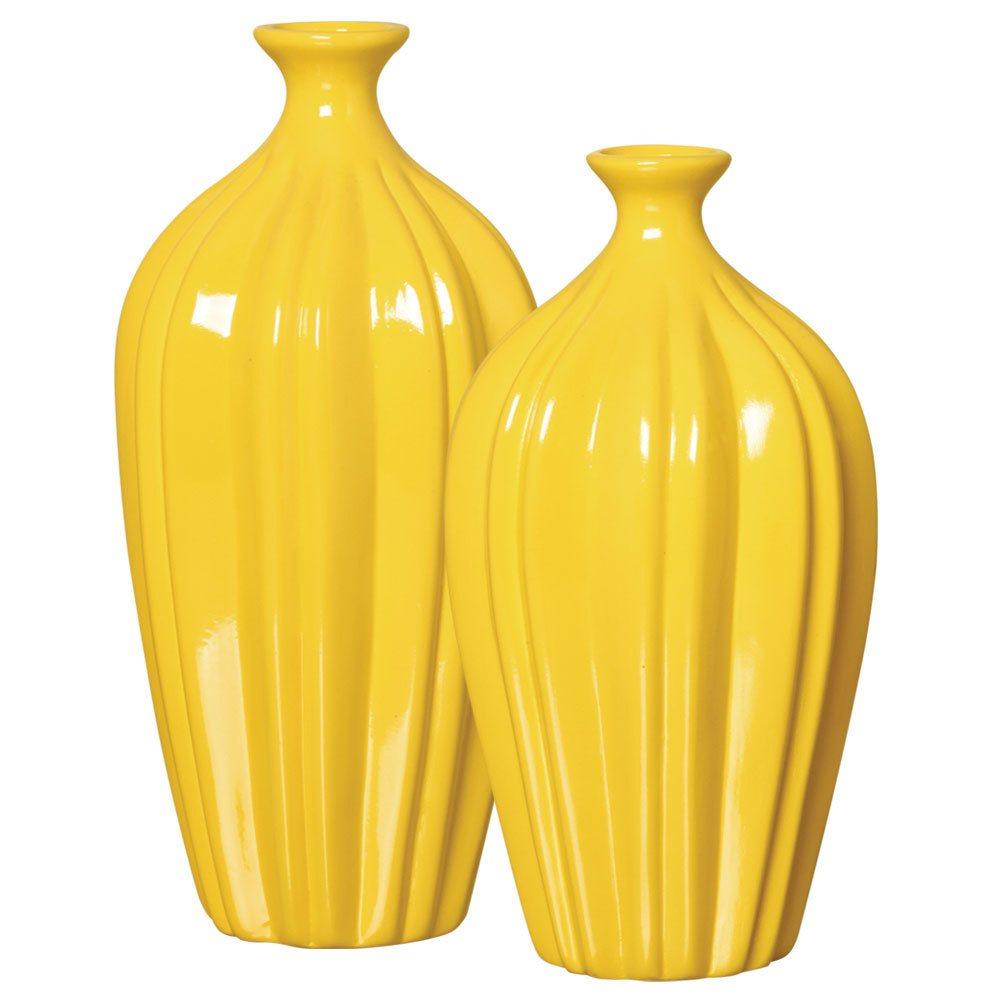 Par De Vasos Em Cerâmica Amarelo Para Sala De Estar
