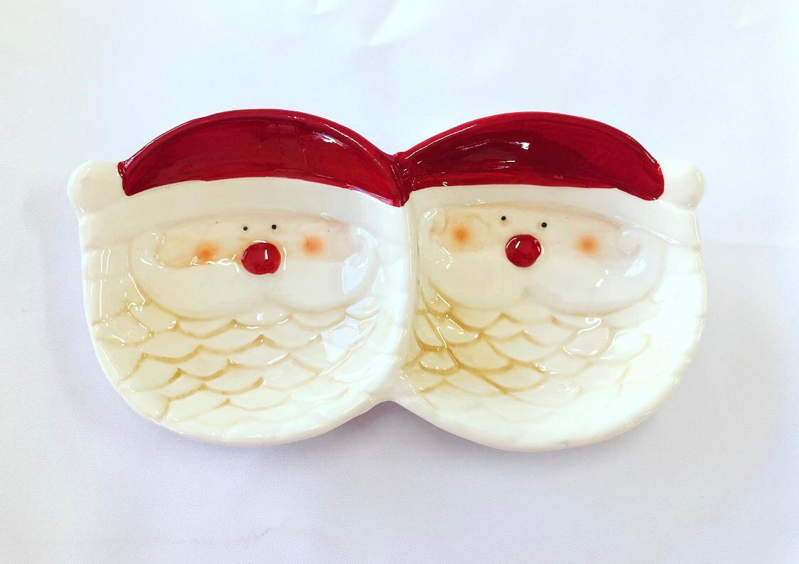 Petisqueira Dupla Natal Papai Noel Em Cerâmica