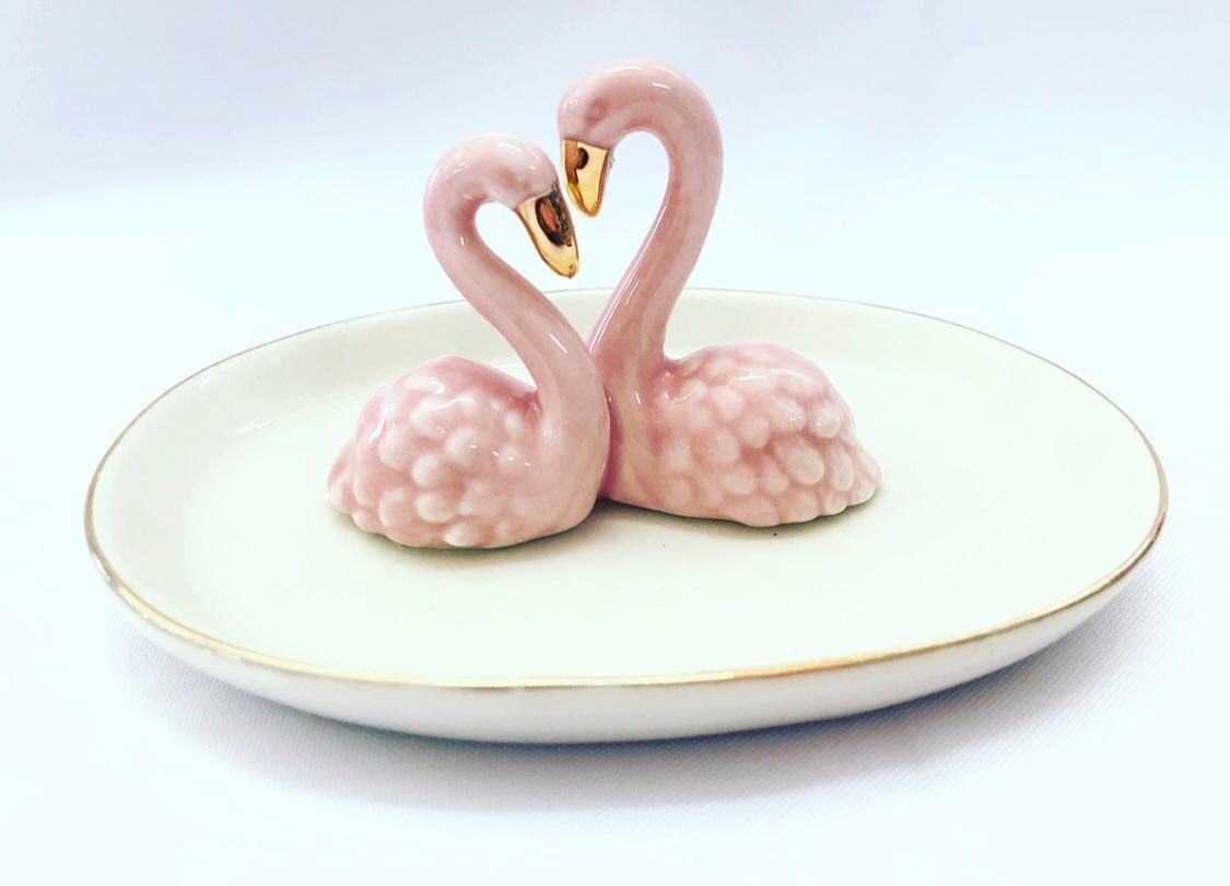 Porta Joias Pratinho Porcelana Casal De Flamingos