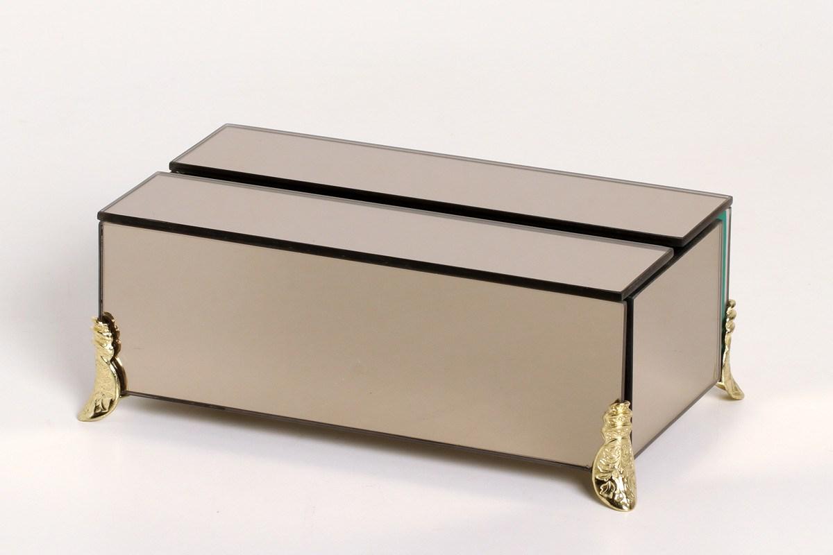 Porta Papel Toalha/Lenços Espelhado Bronze - Kit Higiene Lavabo