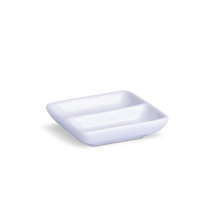 Porta Patê Com Divisão Branco Porcelana 11 x 11 x 3 cm