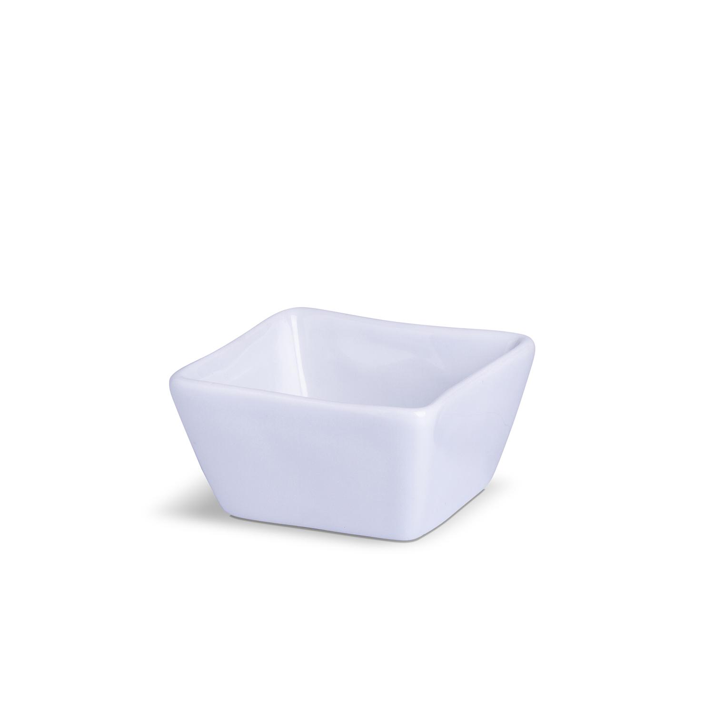 Porta Patê Quadrado Grande Branco Porcelana 7,5 x 7,5 x 4 cm