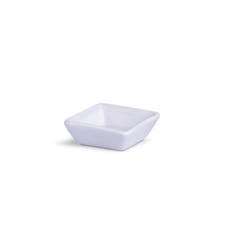 Porta Patê Quadrado Pequeno Branco Porcelana 6 x 6 x 2,5 cm