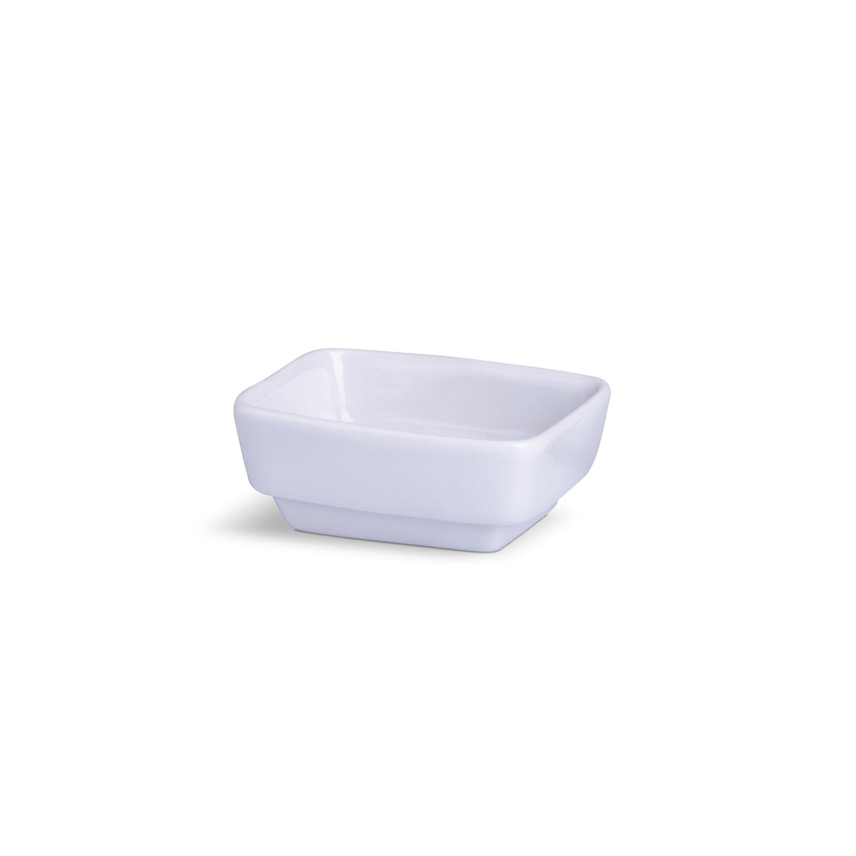 Porta Patê Retangular Pequeno Branco Porcelana 3,5 x 6,5 x 8 cm