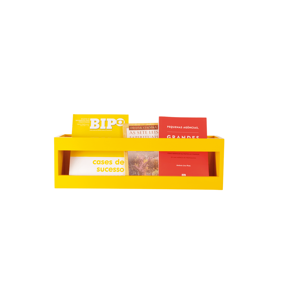 Prateleira de Parede para Livros Amarela Pequena