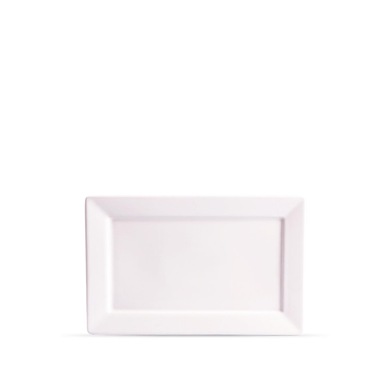 Prato Sobremesa Retangular 25,4x16,4 cm Plateau White Branco Porcelana Oxford