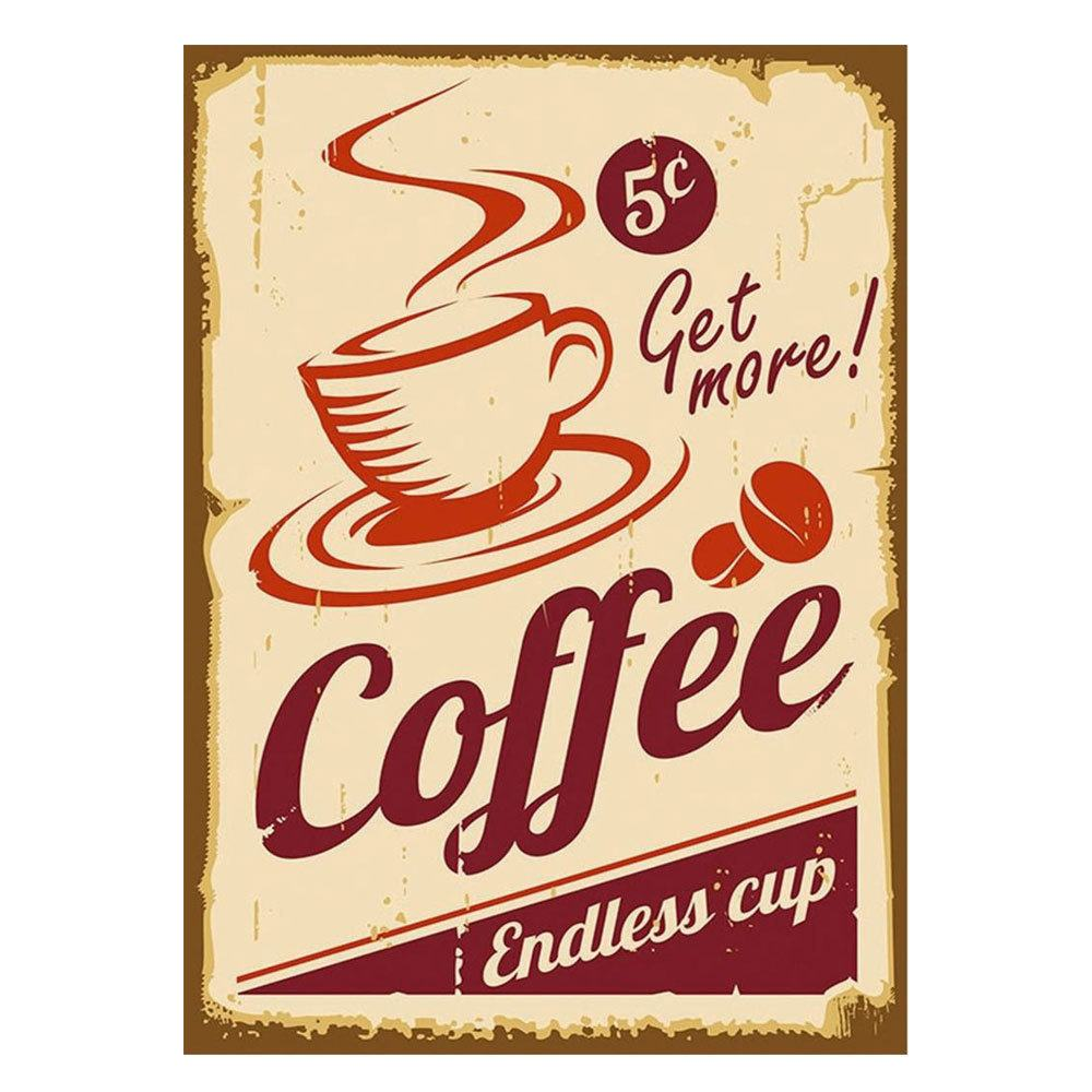 Quadro Decorativo em MDF Get more! Coffee - 15 x 20 cm