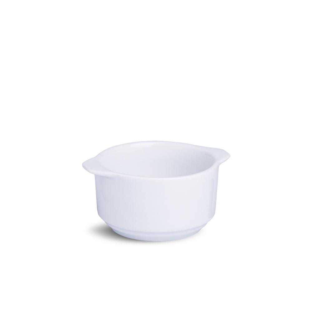 Ramekin Com Alça Liso Grande Branco Porcelana 5 x 5 x 12 cm