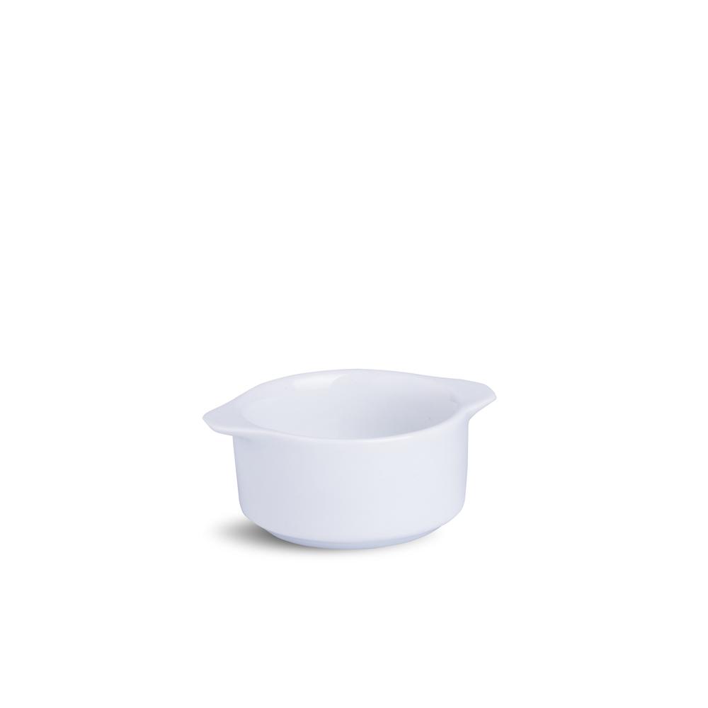 Ramekin Com Alça Liso Médio Branco Porcelana 5 x 9 x 11 cm