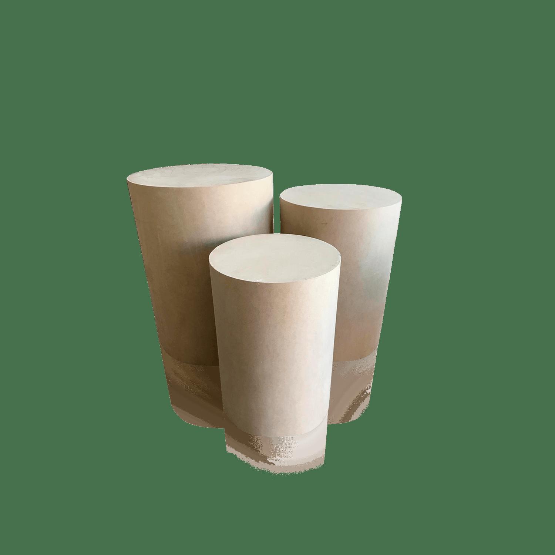 Trio de Cilindro em MDF Cru para Decoração de Festas