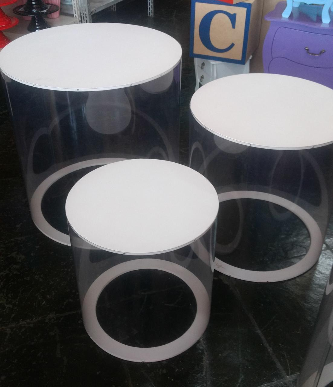Trio de Cilindro Transparente  com Tampo Branco para Festa