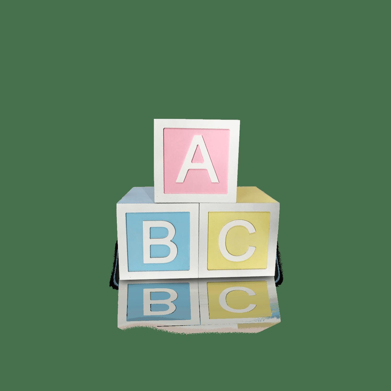 Trio de Cubos ABC em MDF, Medidas 15 X 15 cm para Decoração de Festas