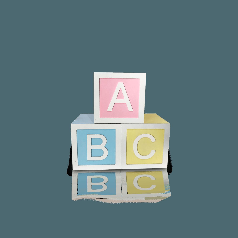 Trio de Cubos ABC em MDF, Medidas 30 X 30 cm para Decoração de Festas
