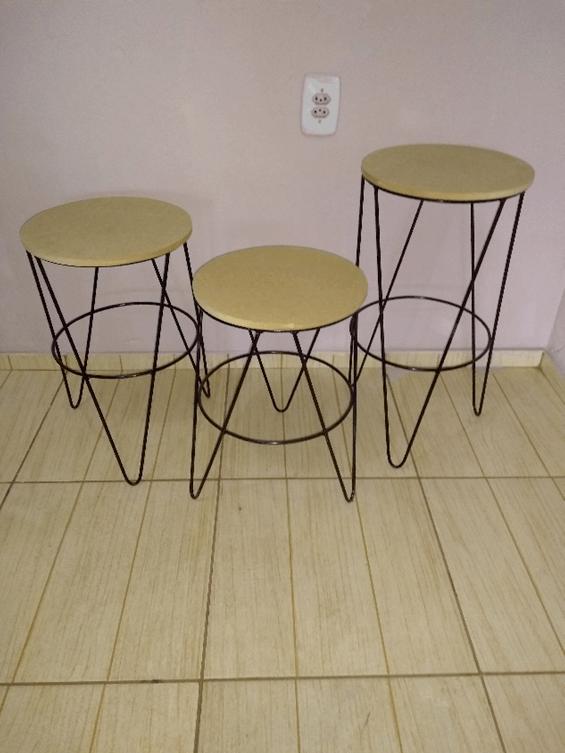 Trio de Mesas Mini Table Hairpin Legs, para Doces em Ferro com Tampo em MDF Cru Ideal para Festas