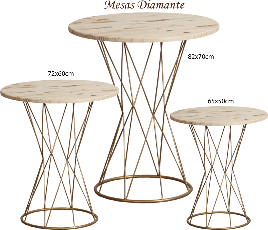 Trio de Mesas Torre Diamante em Ferro com Tampo em Pinus Cru para Decoração de Festas