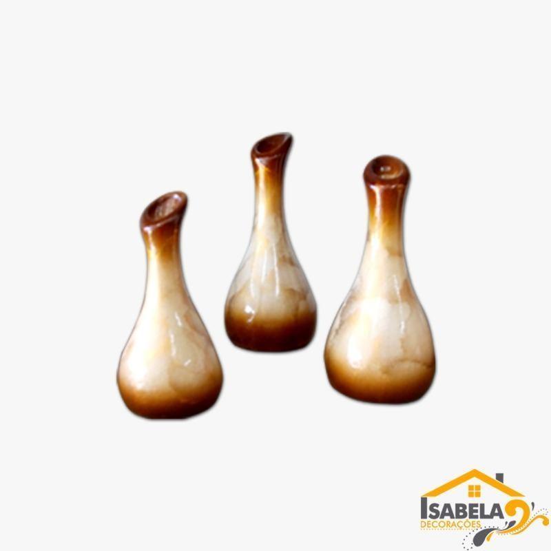 Trio De Vasos De Cerâmica Grande