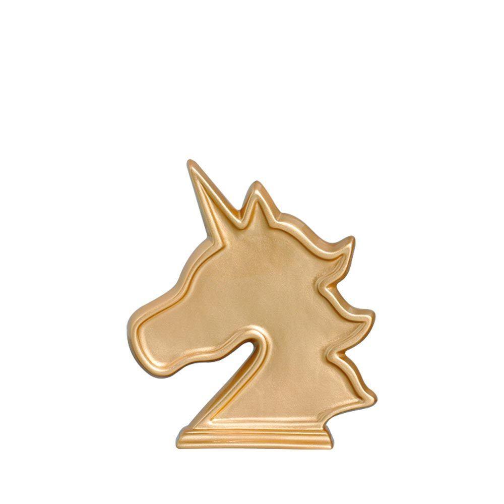 Unicórnio Estilizado cabeça Dourado
