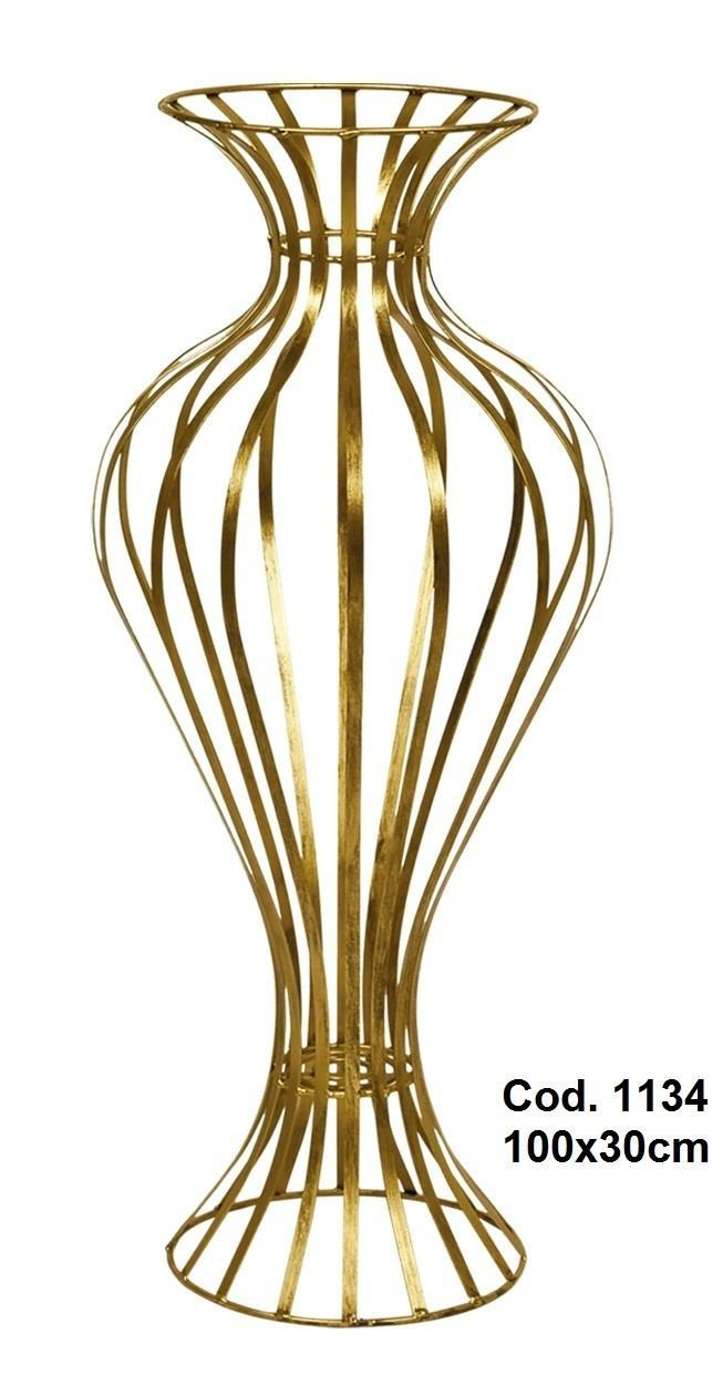 Vaso Elegante em Ferro Cor Ouro de 1 metro de Altura