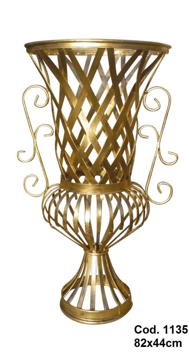Vaso Imperial em Ferro Cor Ouro para Decoração de Festas