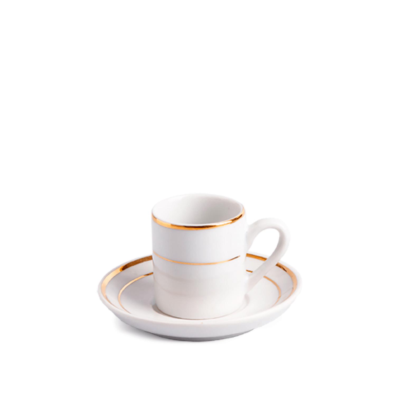 Xícara de Café com Pires 2 Filetes em Ouro