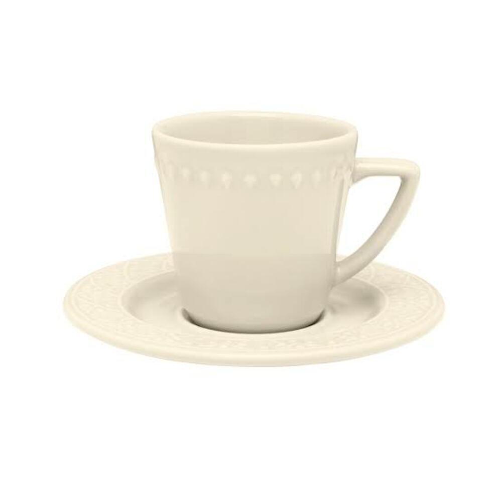 Xícara de Chá Marfim com Pires em Relevo Oxford