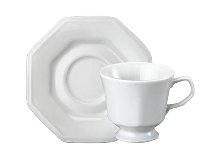 Xícara de Chá de Porcelana Schmidt com Pires Prisma 1° Linha 200 ml