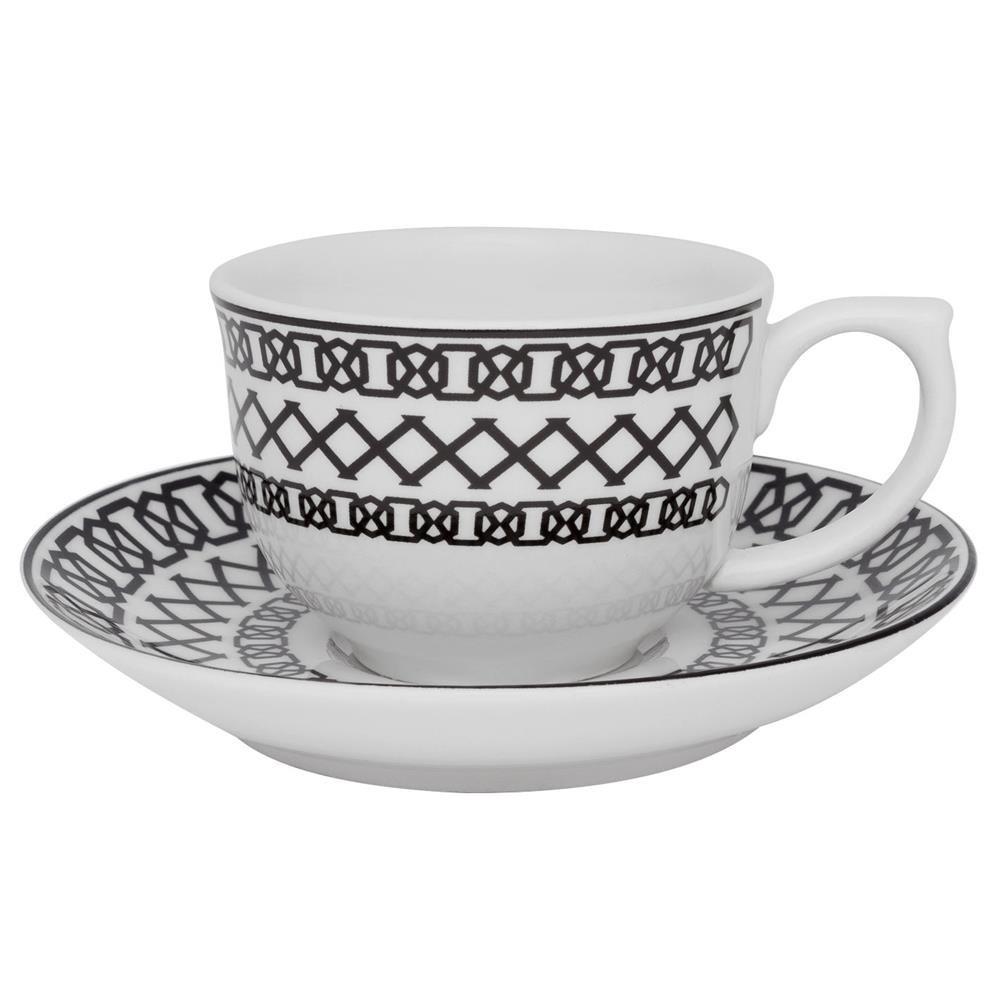 Xícara de Chá 240ml com Pires 15 cm Linha Sense Porcelana Oxford