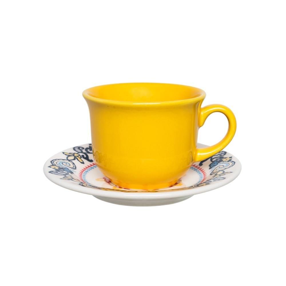 Xícara de Chá Amarela 200ml com Pires 15 cm La Pollera Oxford