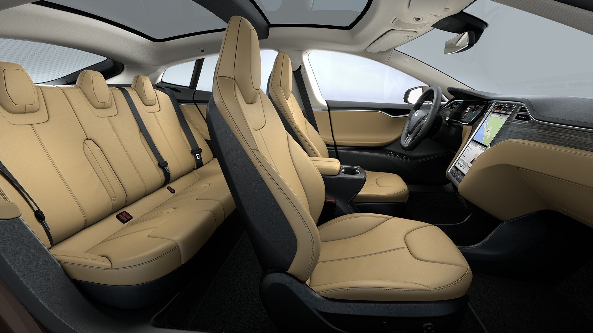 Interieur Tan Leather Seats Matte Obeche Wood Decor Standard Textile Headliner
