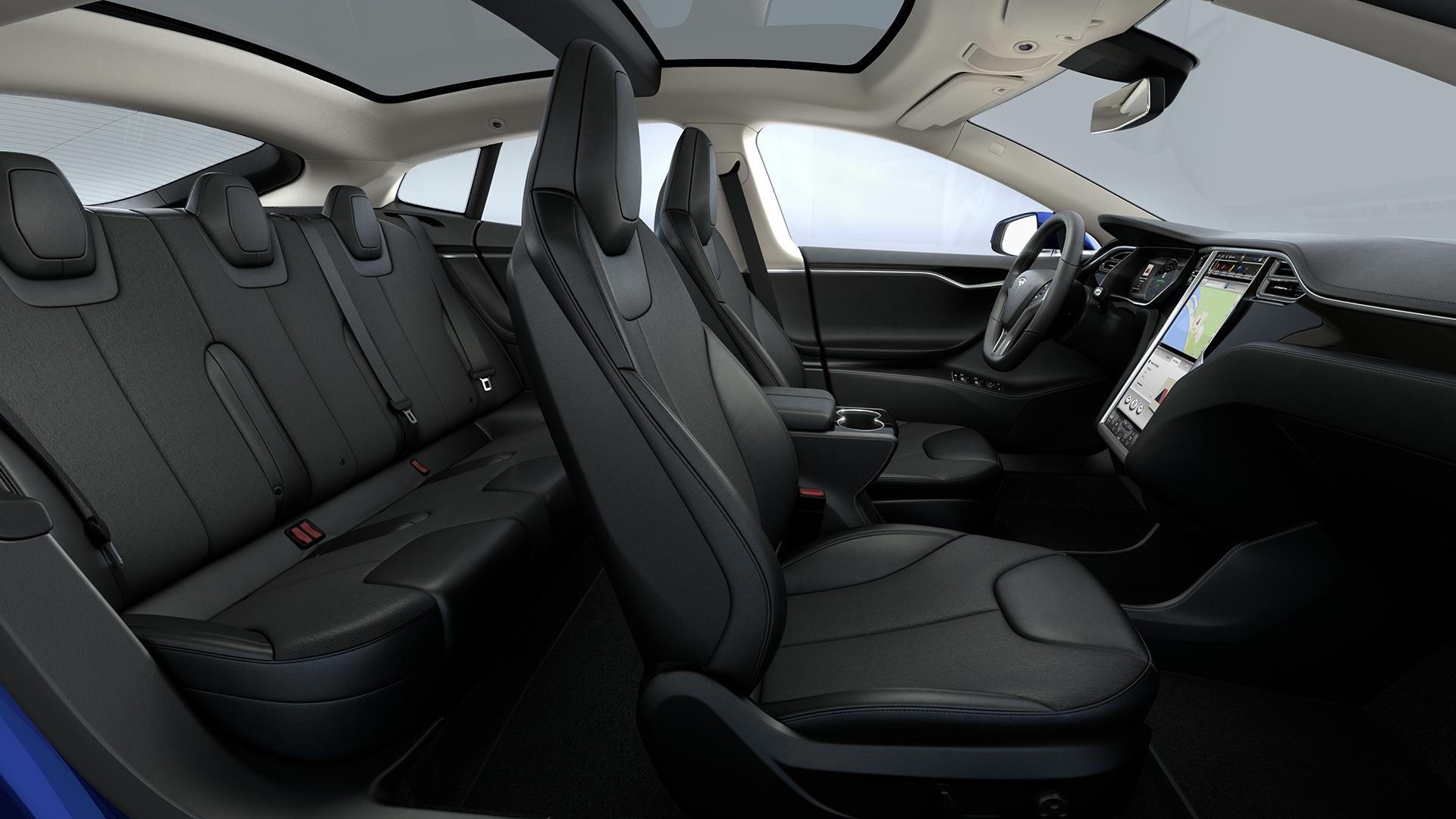 Interieur Rear Facing Seats Cream Premium Dark Ash Wood Decor Black Alcantara Headliner