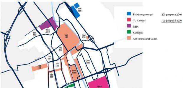 Overzichtskaart met ontwikkelpotentieel voor werkgelegenheidsgroei per deel van de stad