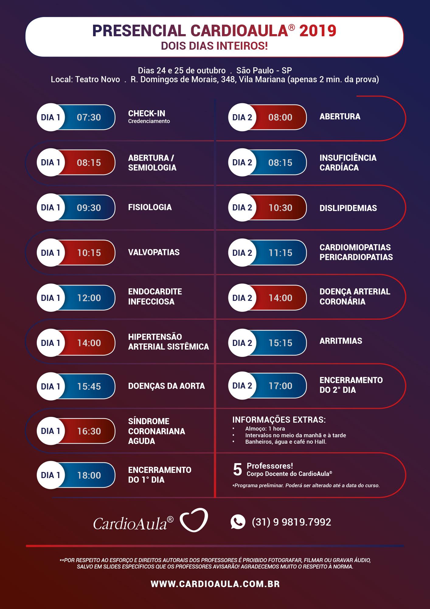 Cronograma Presencial CardioAula SP