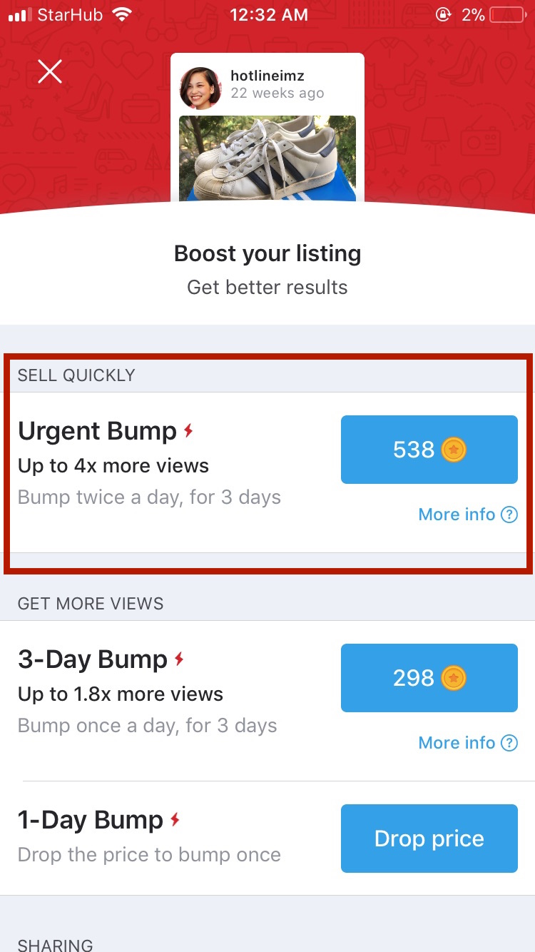 How to Bump with an Urgent Bump via the Promote Page on Carousell