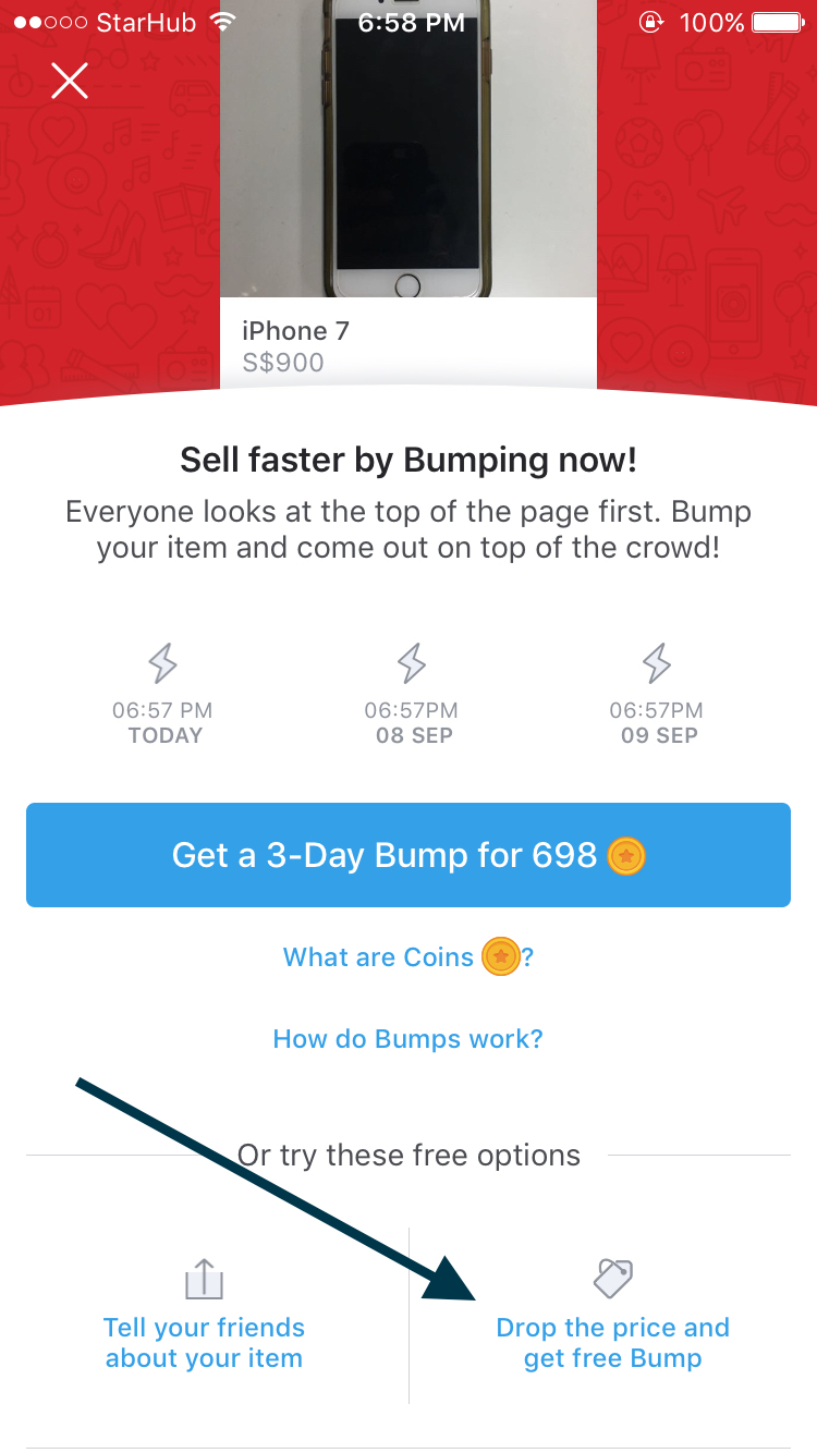How Carousell Bumps offer a Free Option