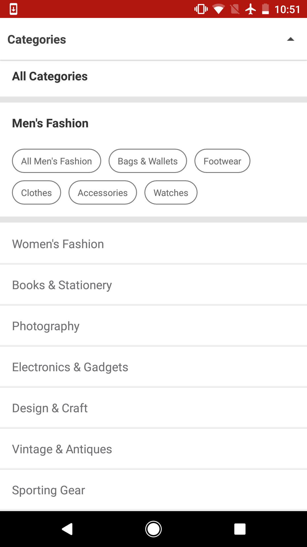 Categories Filter on Carousell for Android