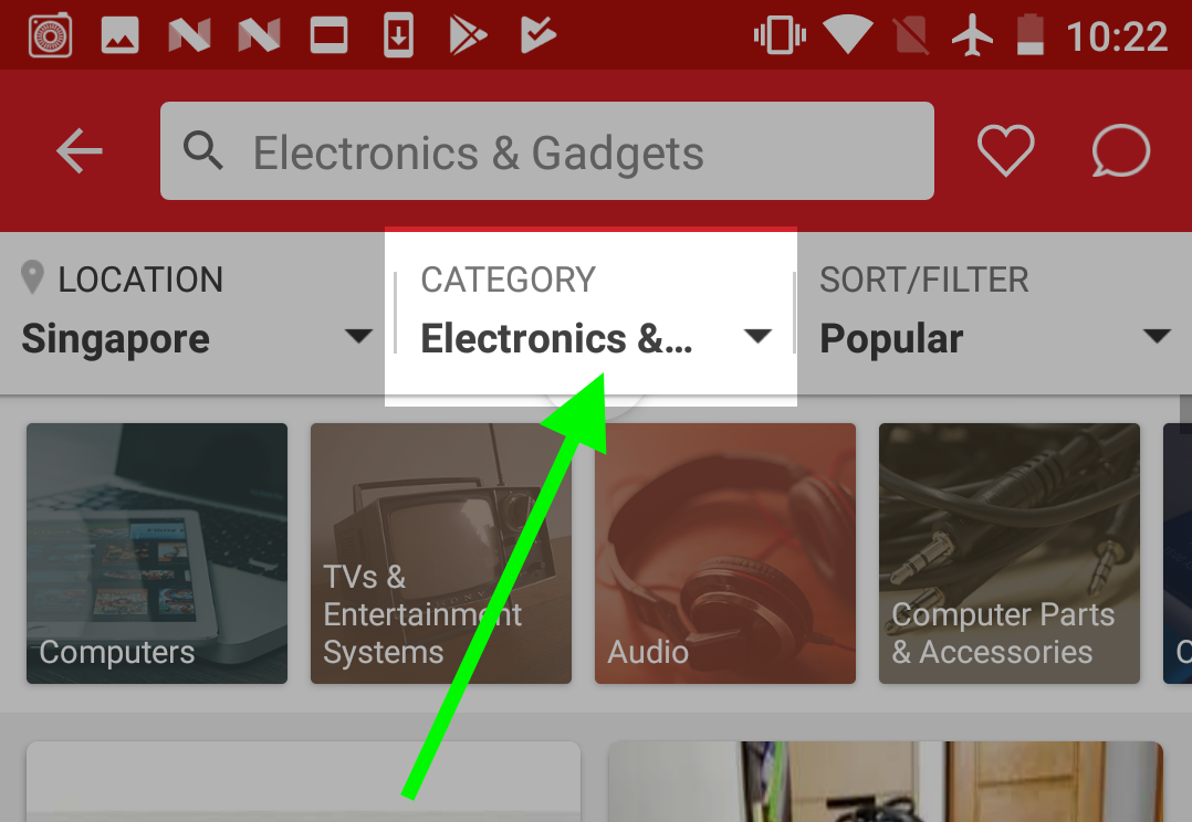 Where to find the Category Filter on Carousell for iOS